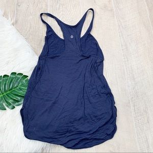 Lululemon Striped Racerback Navy Tank Top 3290